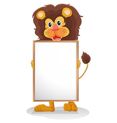 A lion smiling holding an empty board vector