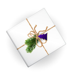 a mockup of christmas gift box with decoration vector image