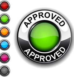 Approved button vector