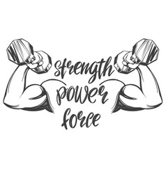 Arm bicep strong hand holding a dumbbell icon vector