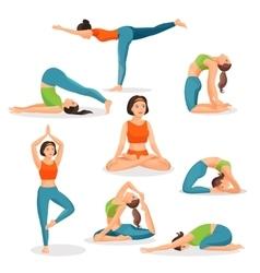 Asana yoga collection girls doing sport in vector