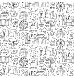 Attraction doodle sseamless pattern vector image