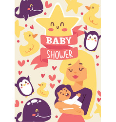 Baby shower mother holding vector