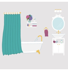 Bathroom interior elements vector image