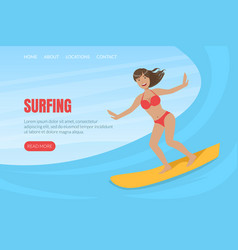 beautiful girl riding surfboard landing page vector image