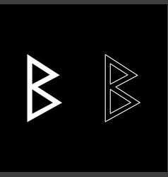 Berkana rune birch birth icon set white color vector