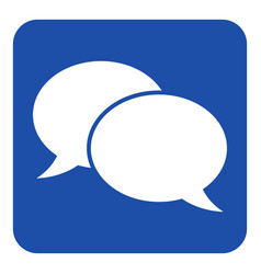 blue white sign - two speech bubbles icon vector image