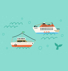 Boats and ships in open sea or ocean marine vector