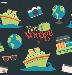Bon voyage cruise travel navy seamless vector