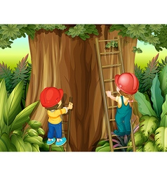Boy and girl climbing ladder up the tree vector