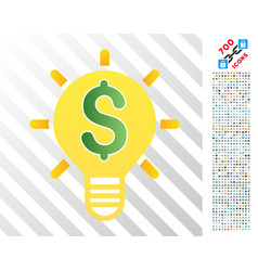 business innovation bulb flat icon with bonus vector image