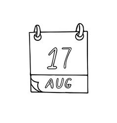 Calendar hand drawn in doodle style august 17 day vector