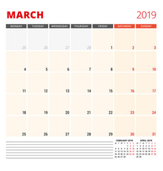 calendar planner template for march 2019 week vector image
