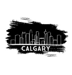 calgary skyline silhouette hand drawn sketch vector image
