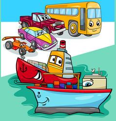 cars and ships group cartoon vector image