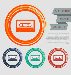 cassette icon on the red blue green orange vector image