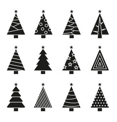 christmas tree set concept tree icon collection vector image