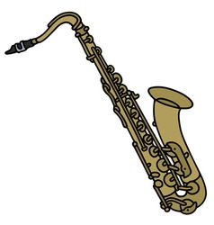 Classic brass saxophone vector image