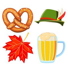 colorful cartoon oktoberfest 4 elements set vector image