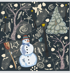 colorful seamless winter pattern with cute snowman vector image