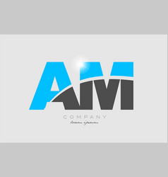 Combination letter am a m in grey blue color vector