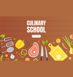 culinary school landing page template cooking vector image