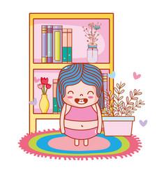cute girl cartoon vector image