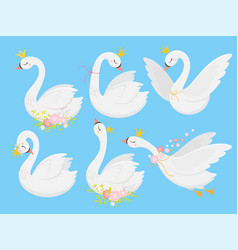 Cute princess swan beautiful white swans in gold vector