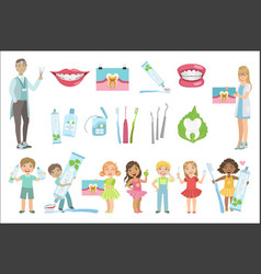 Dentists and dental care poster vector