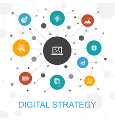 Digital strategy trendy web concept with icons vector