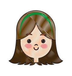 Drawing portrait pretty little girl happy vector