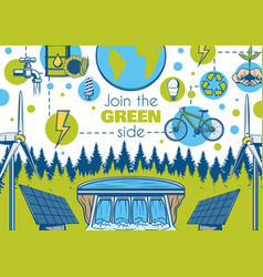 Ecology and environment green earth eco energy vector