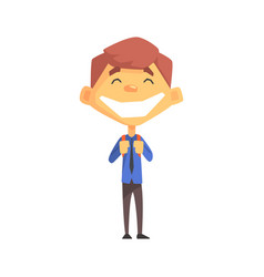 Ecstatic boy with a tie primary school kid vector