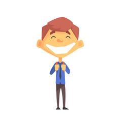 Ecstatic boy with a tie primary school kid vector