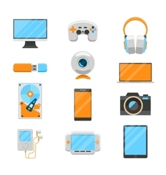 Electronic devices flat icons vector image