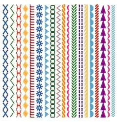 Embroidery stitches seamless patterns and vector