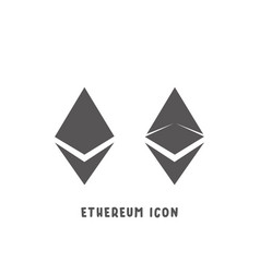 ethereum cryptocurrency icon simple flat style vector image