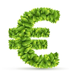 Euro sign alphabet of green leaves vector