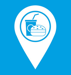 Fast food and restaurant map pointer icon white vector
