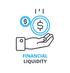 financial liquidity concept outline icon linear vector image