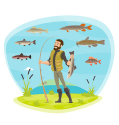 Fisherman man fishing and fish catch vector
