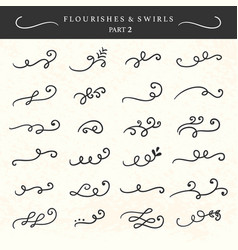 flourishes swirls curls and scrolls set vector image