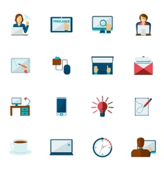 Freelance Icon Flat Set vector