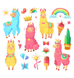 funny mexican smiling alpaca with fluffy wool vector image