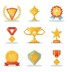 Gold Awards Win Symbols Trophy Isolated Polygonal vector image