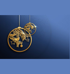 gold christmas balls and fir tree branches vector image