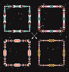 grunge set with abstract geometric ethnic frames vector image