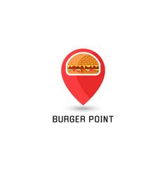 hamburger logo pointer pin location sandwich fast vector image