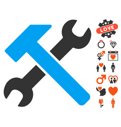 Hammer and wrench icon with dating bonus vector