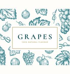 Hand drawn grapes card abstract vector